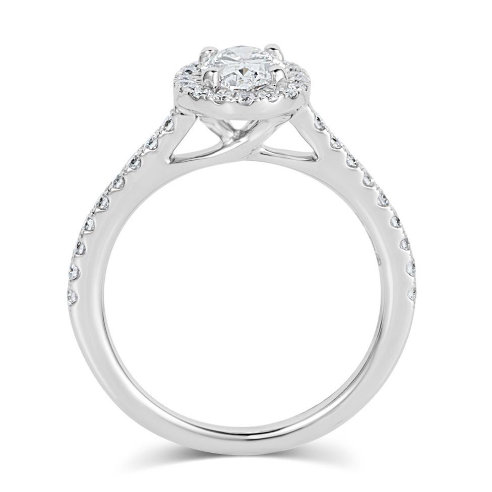 Platinum Oval Diamond Halo Engagement Ring 1.05ct Thumbnail Image 2