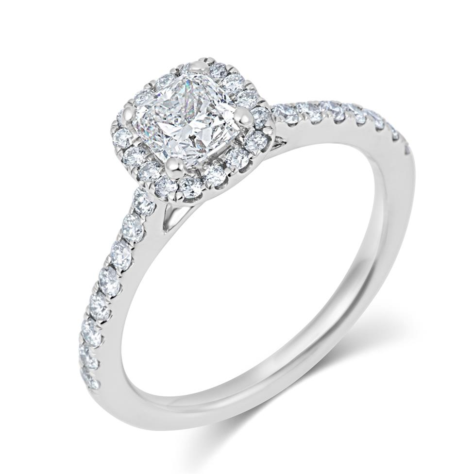 Platinum Cushion Cut Diamond Halo Engagement Ring 1.05ct Thumbnail Image 0