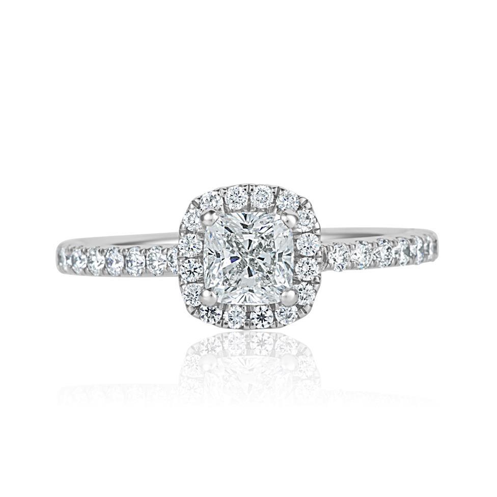 Platinum Cushion Cut Diamond Halo Engagement Ring 1.05ct Thumbnail Image 1