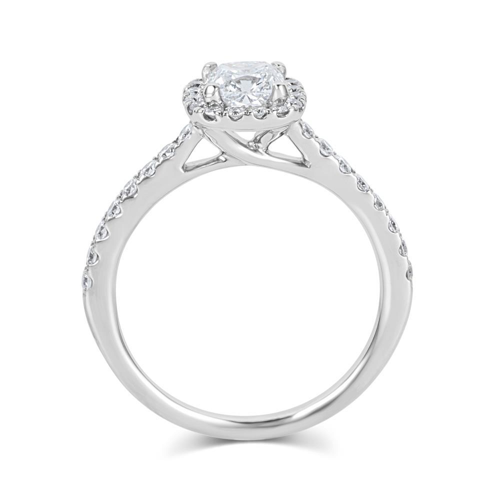 Platinum Cushion Cut Diamond Halo Engagement Ring 1.05ct Thumbnail Image 2