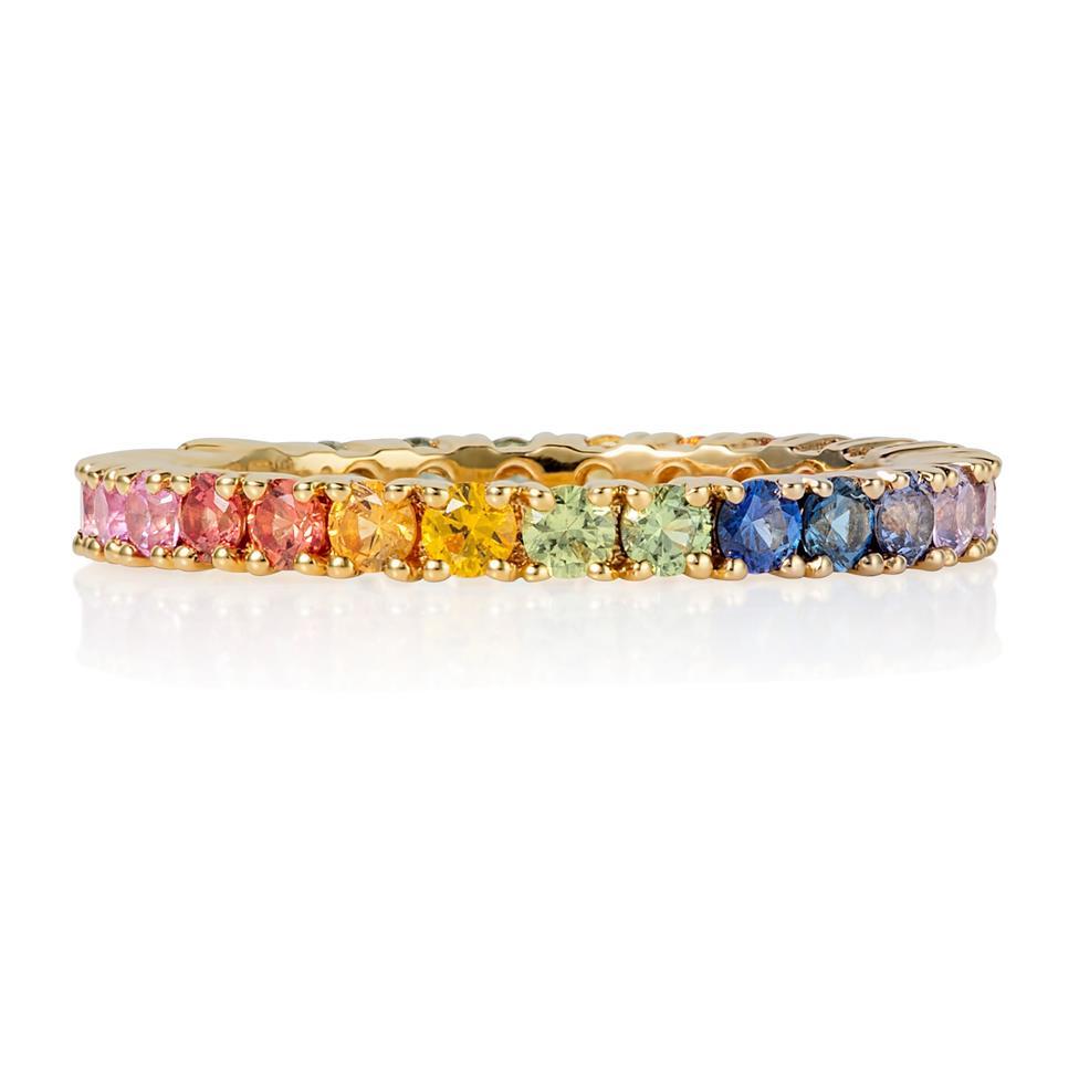 Samba 18ct Yellow Gold Rainbow Sapphire Full Eternity Ring Thumbnail Image 2