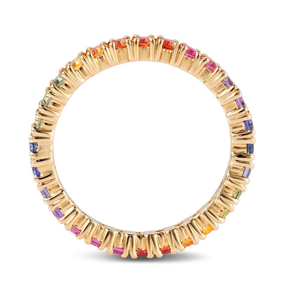 Samba 18ct Yellow Gold Rainbow Sapphire Full Eternity Ring Thumbnail Image 3