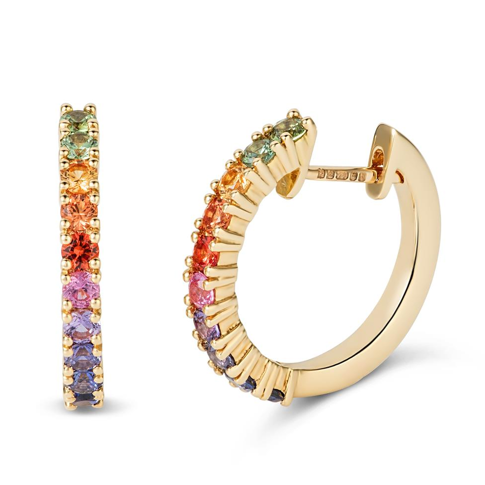 Samba 18ct Yellow Gold Rainbow Sapphire Hoop Earrings Thumbnail Image 0