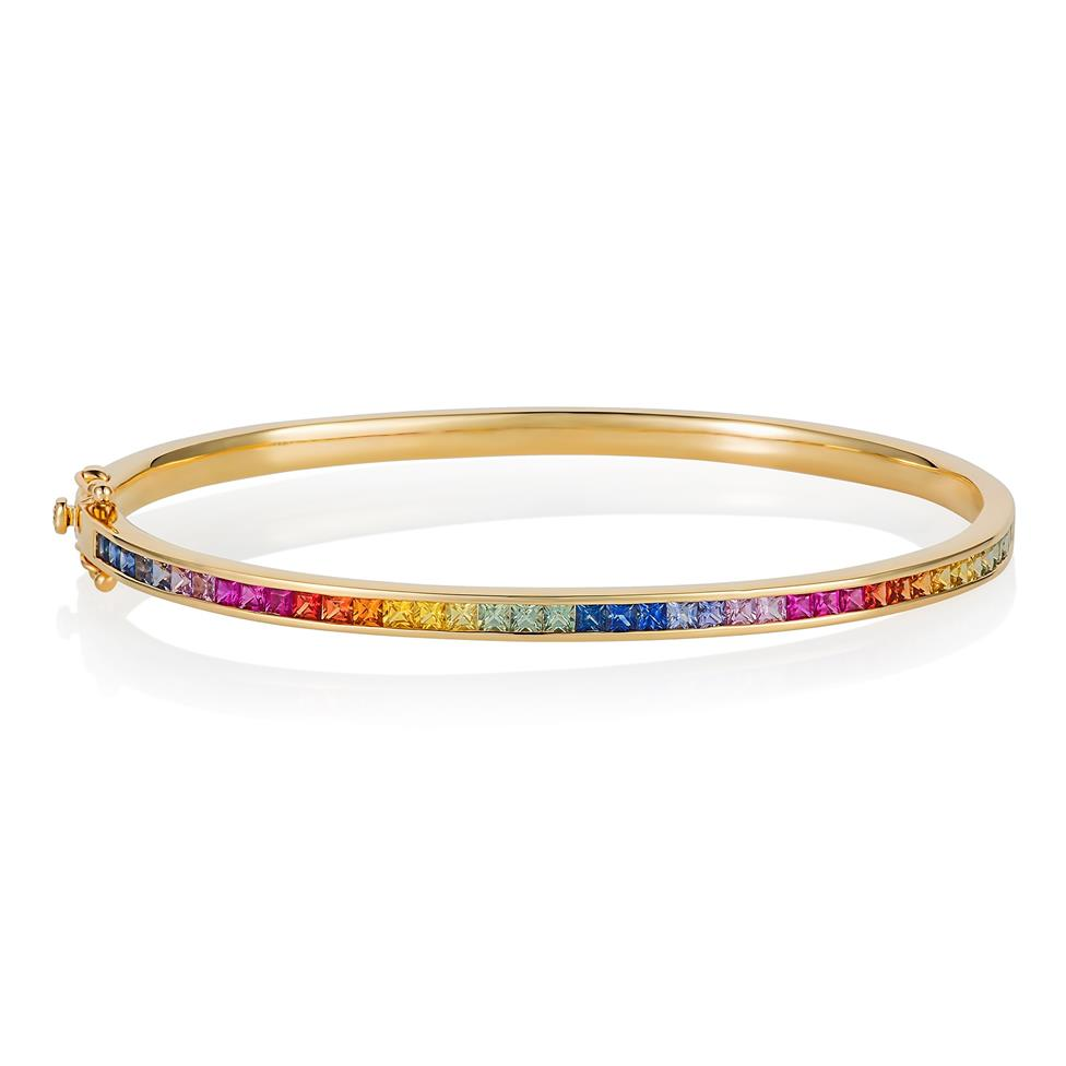 Samba 18ct Yellow Gold Rainbow Sapphire Bangle Thumbnail Image 0