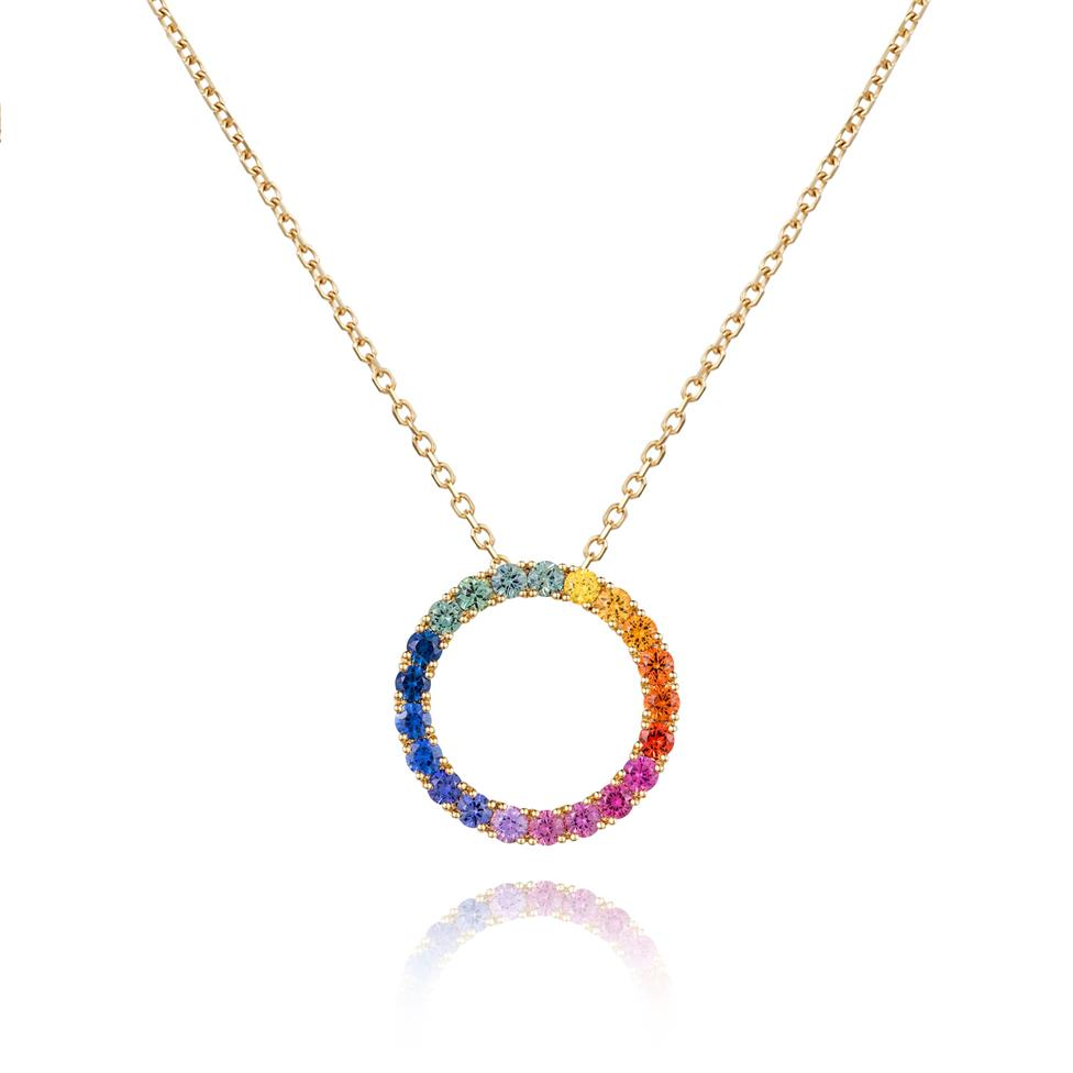 Samba 18ct Yellow Gold Rainbow Sapphire Pendant 22mm Image 1