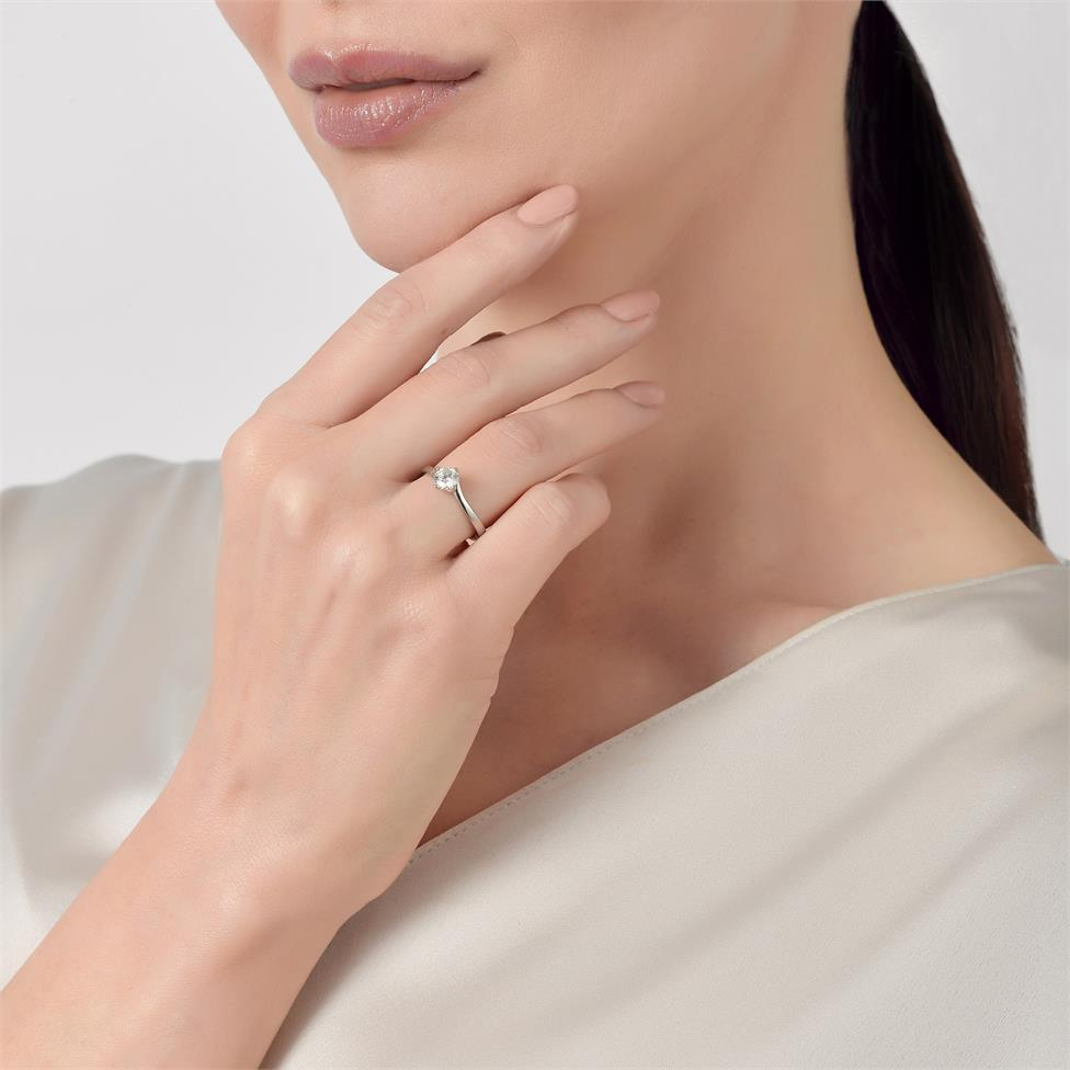 Platinum Twist Design Diamond Solitaire Engagement Ring 0.50ct Thumbnail Image 2