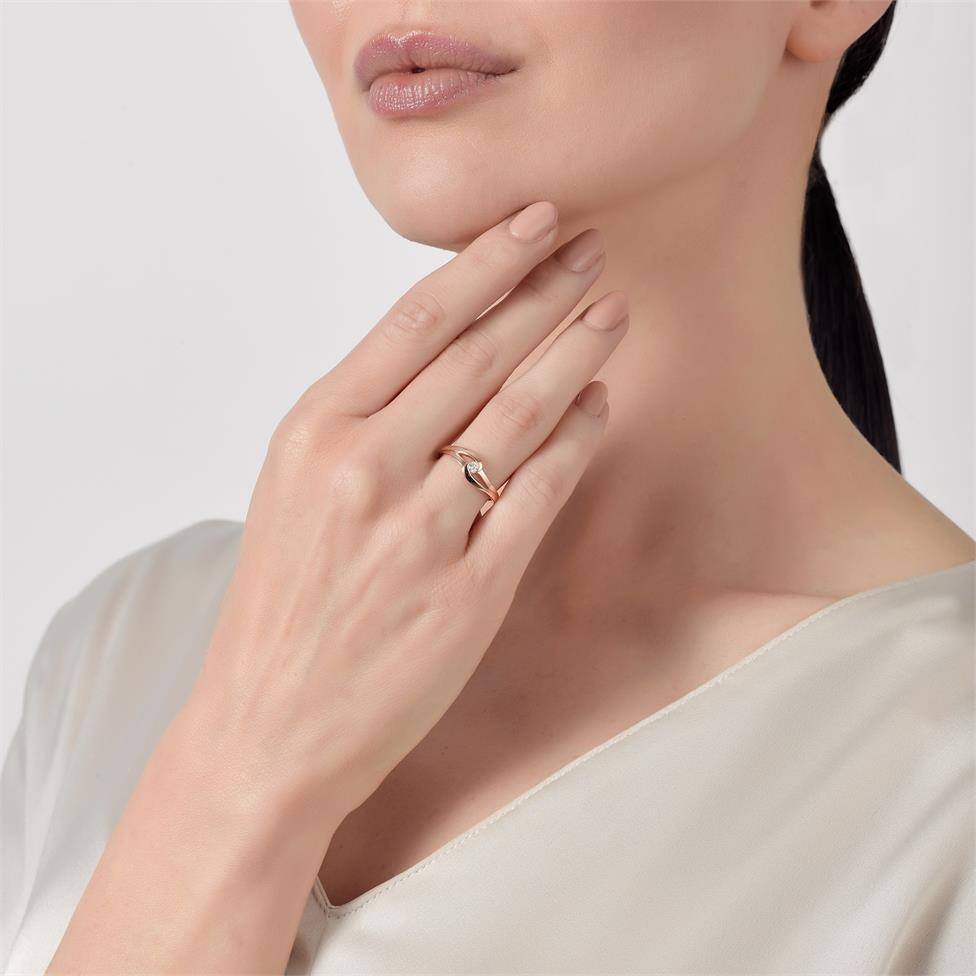 Mon Coeur 18ct Rose Gold Twist Design Diamond Dress Ring 0.08ct Thumbnail Image 2