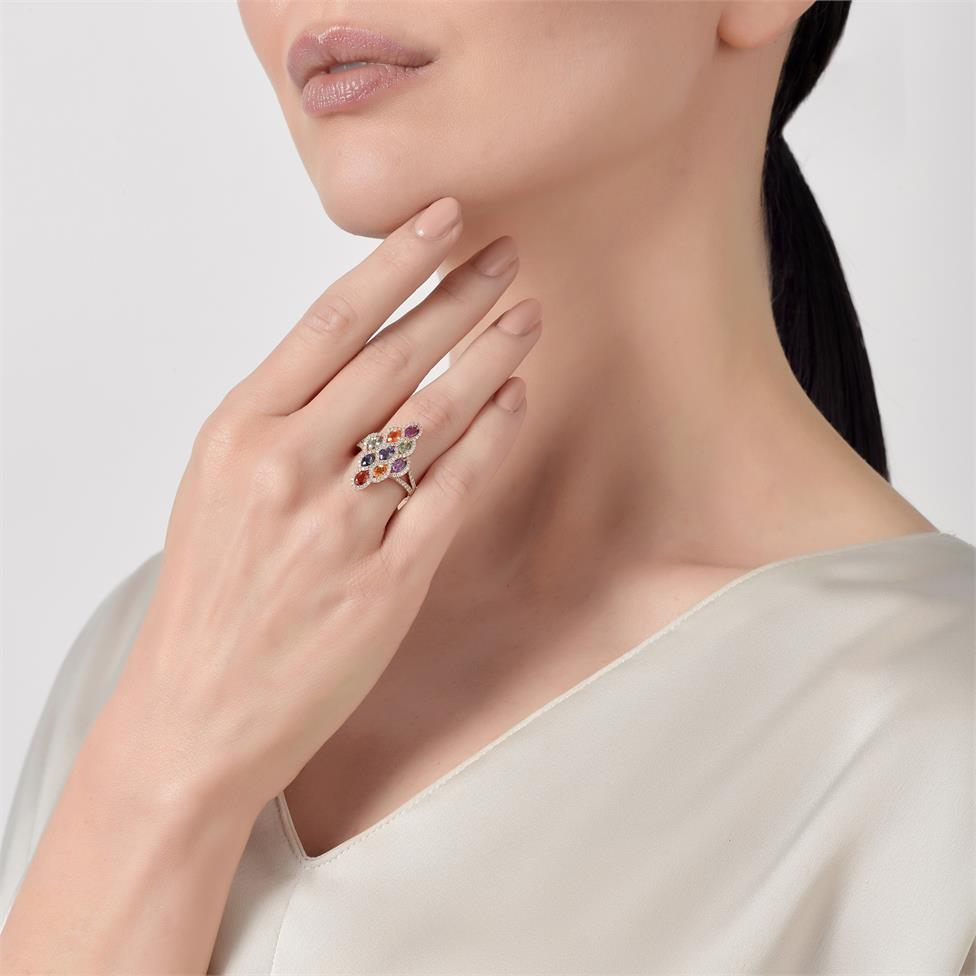 Samba 18ct Rose Gold Marquise Design Rainbow Sapphire and Diamond Dress Ring Thumbnail Image 1