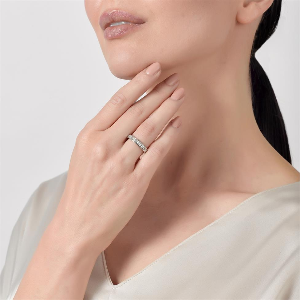 Platinum Alternating Baguette Cut Diamond Half Eternity Ring 0.75ct Thumbnail Image 1