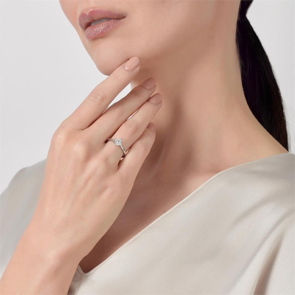 Platinum Twist Design Princess Cut Diamond Solitaire Engagement Ring 0.70ct Thumbnail Image 2