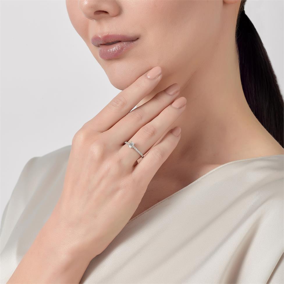 Platinum Emerald Cut Diamond Solitaire Engagement Ring 0.58ct Thumbnail Image 2