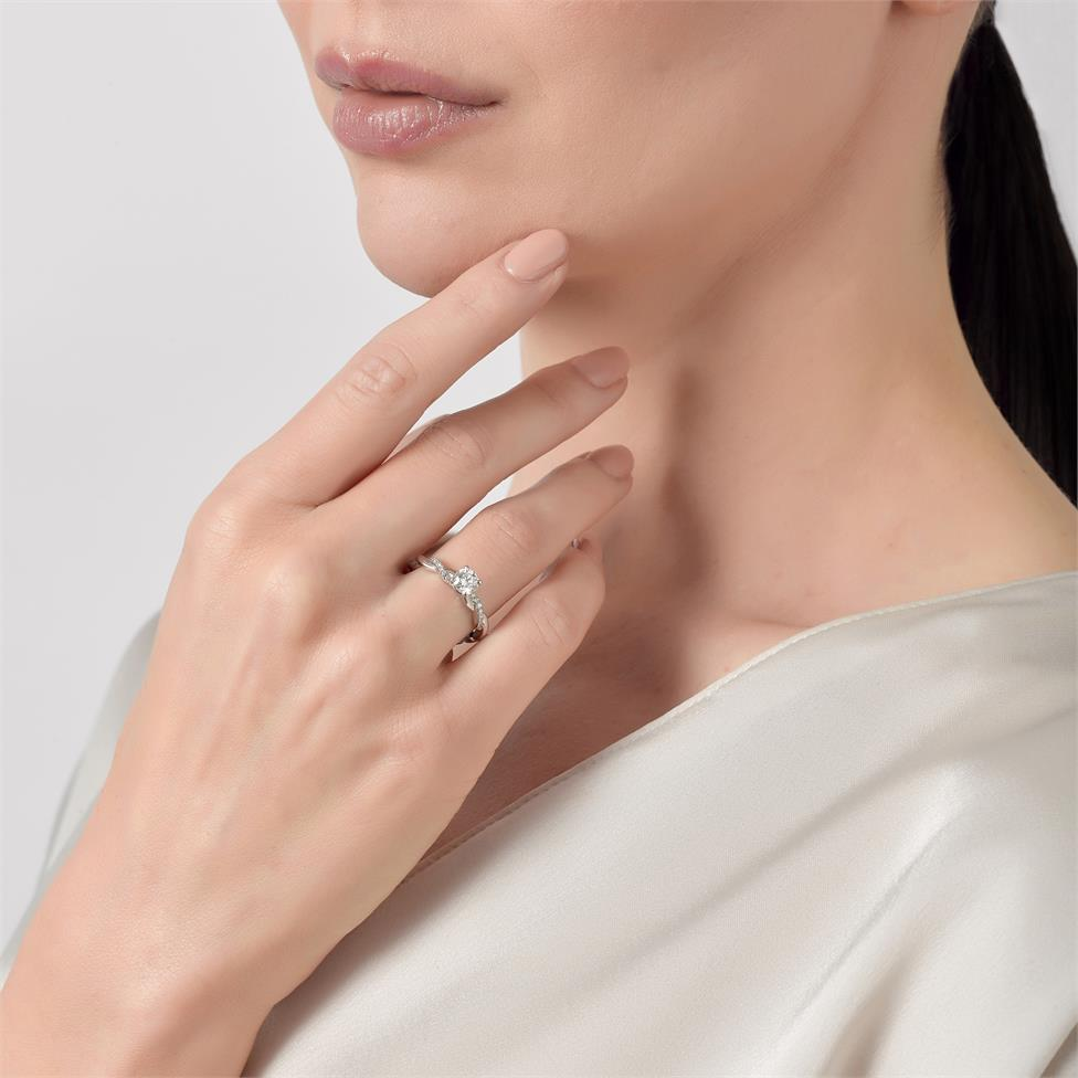 Platinum Plait Design Diamond Solitaire Engagement Ring 0.64ct Thumbnail Image 4