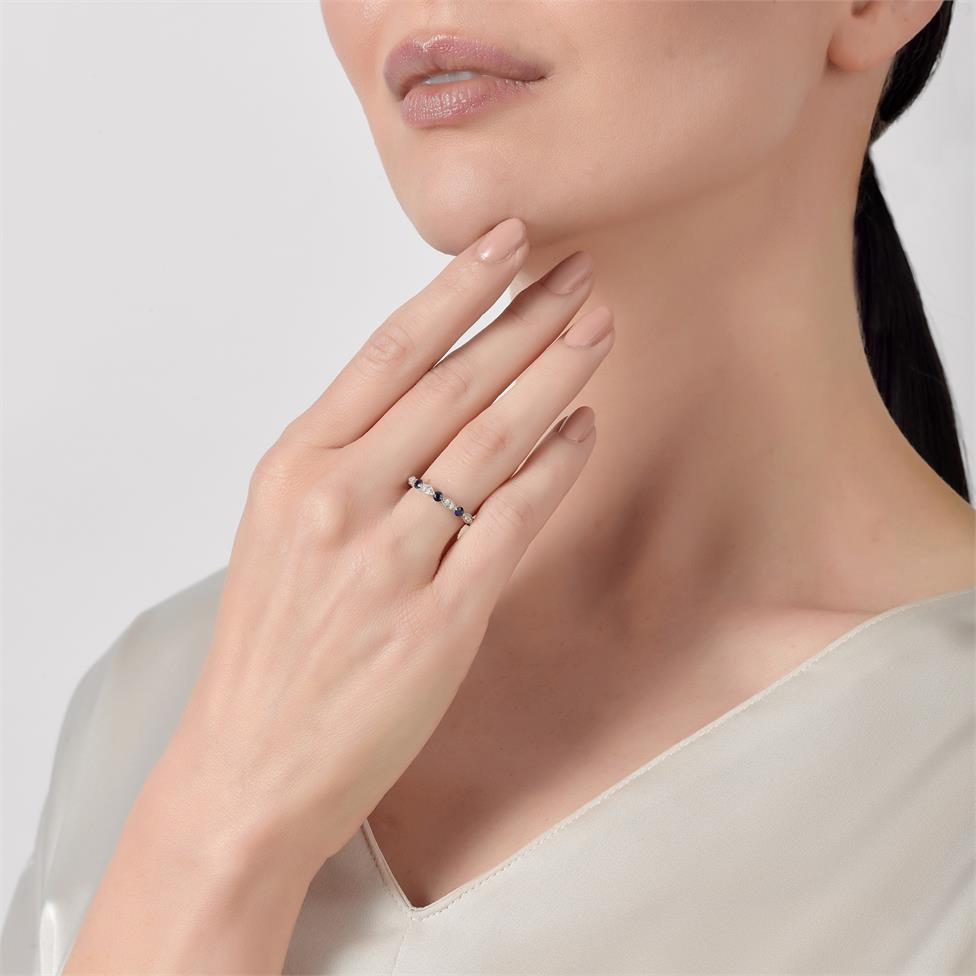 18ct White Gold Milgrain Detail Sapphire and Diamond Half Eternity Ring Thumbnail Image 1