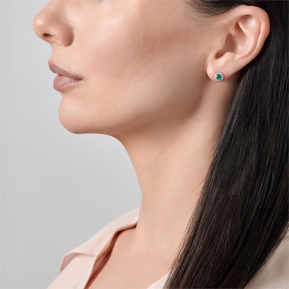 Camellia 18ct White Gold Emerald and Diamond Halo Stud Earrings Thumbnail Image 1