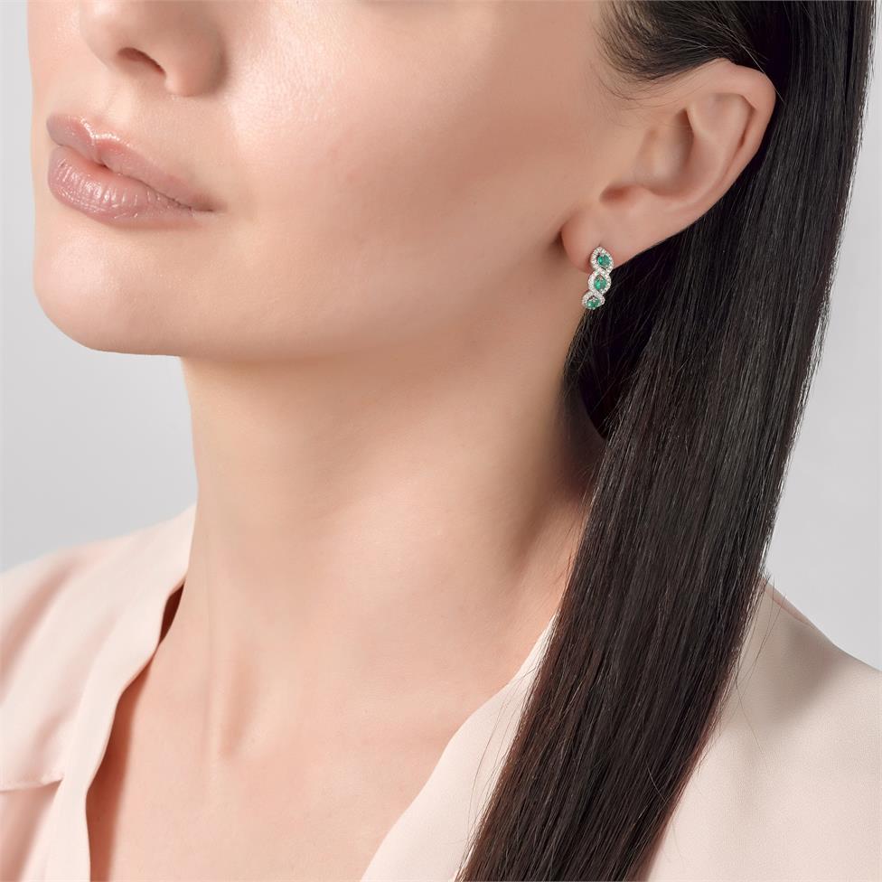 Oriana 18ct White Gold Emerald and Diamond Semi Hoop Earrings Thumbnail Image 1