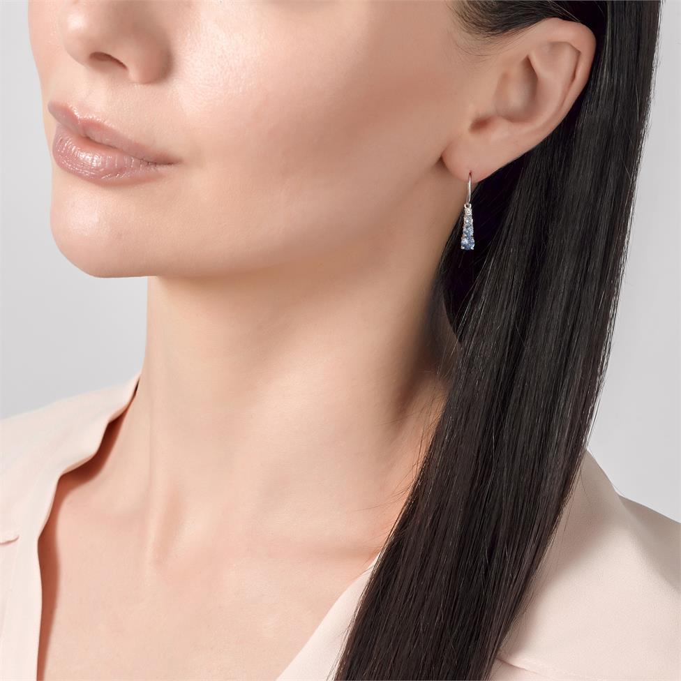 Bonbon 18ct White Gold Sapphire and Diamond Drop Earrings Thumbnail Image 2