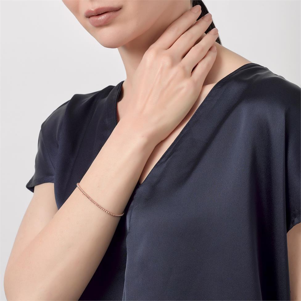 18ct Rose Gold Faceted Bead Detail Bracelet  Thumbnail Image 1