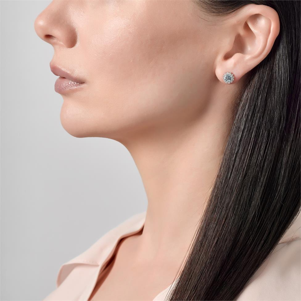 18ct White Gold Aquamarine and Diamond Cluster Stud Earrings Thumbnail Image 1