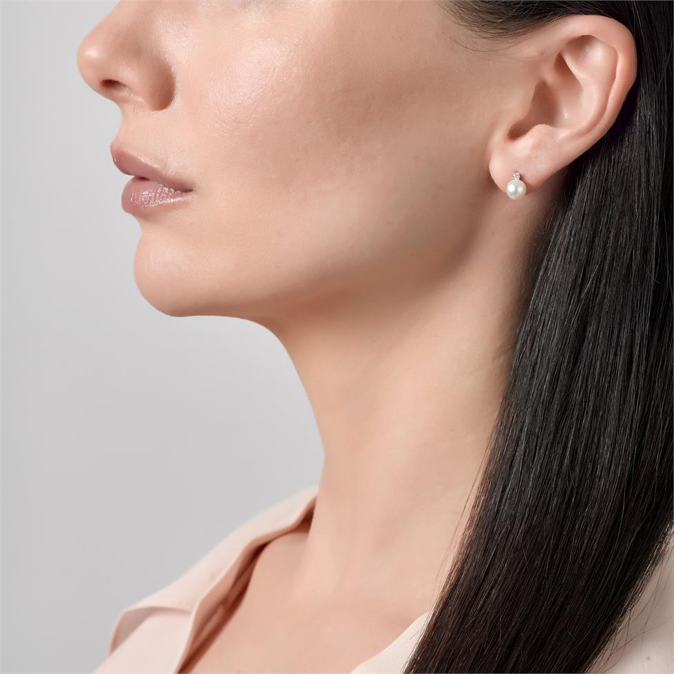 18ct White Gold Akoya Pearl and Diamond Drop Earrings 8mm Thumbnail Image 1