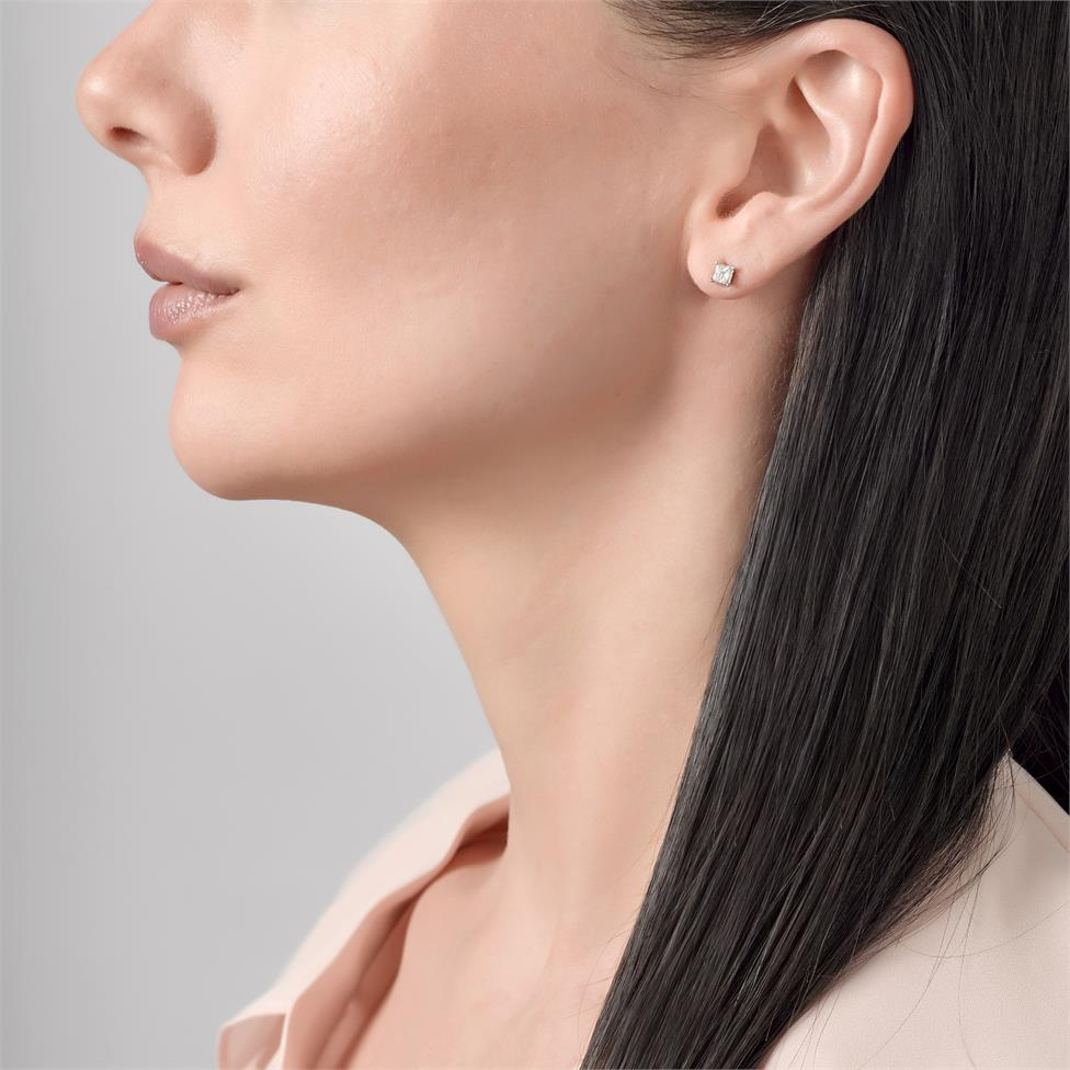 18ct White Gold Princess Cut Diamond Solitaire Stud Earrings 0.50ct Thumbnail Image 1