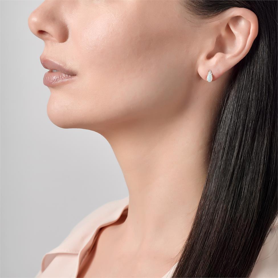 18ct Yellow Gold Opal and Diamond Stud Earrings Thumbnail Image 1