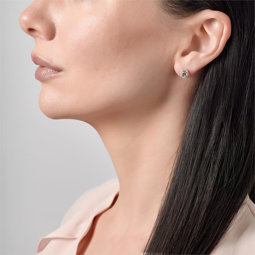 18ct Rose Gold Morganite and Diamond Halo Stud Earrings Thumbnail Image 1