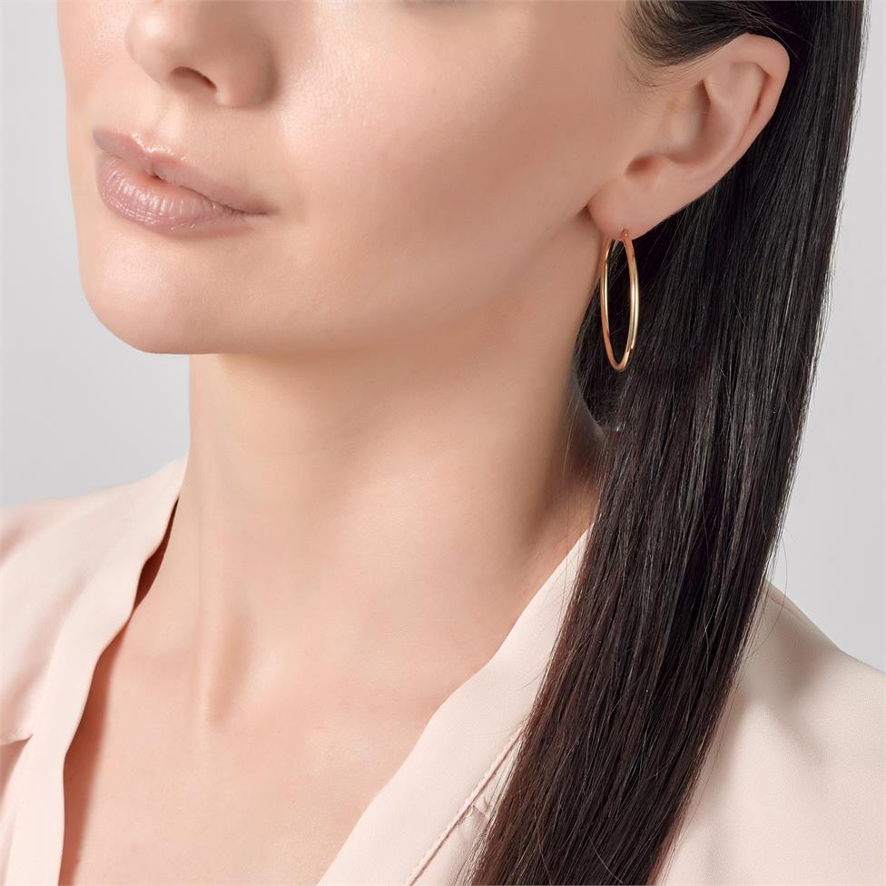 18ct Yellow Gold Hoop Earrings 34mm Thumbnail Image 1