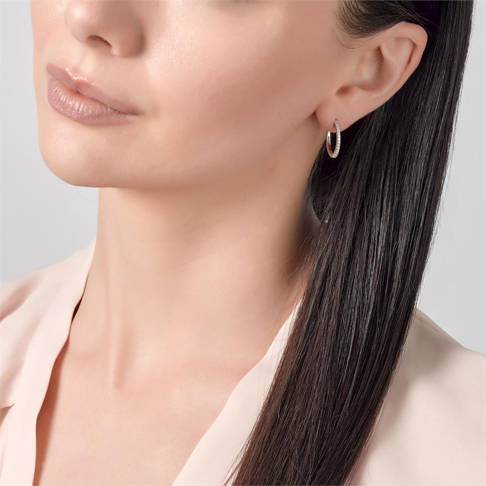 18ct White Gold Diamond Hoop Earrings 17mm  Thumbnail Image 1