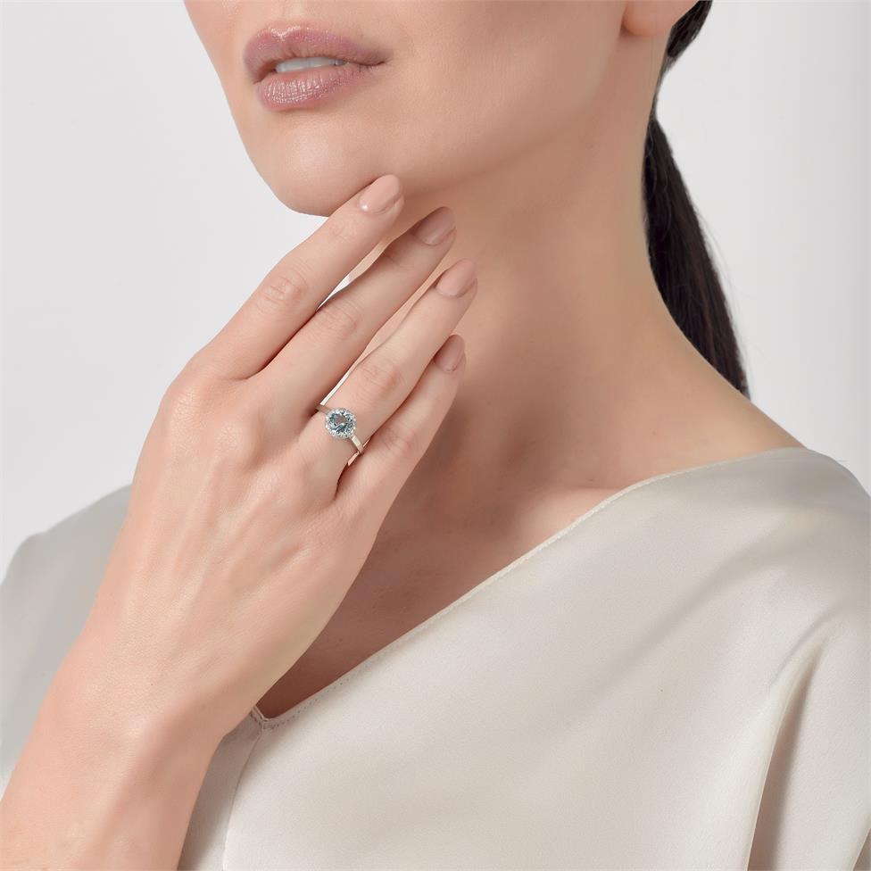 Camellia 18ct White Gold Blue Topaz and Diamond Halo Dress Ring  Thumbnail Image 1