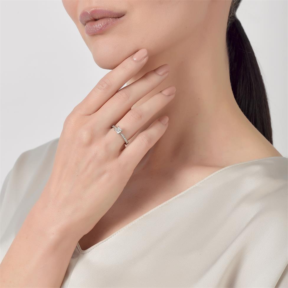 Platinum Princess Cut Diamond Solitaire Engagement Ring 0.75ct Thumbnail Image 3