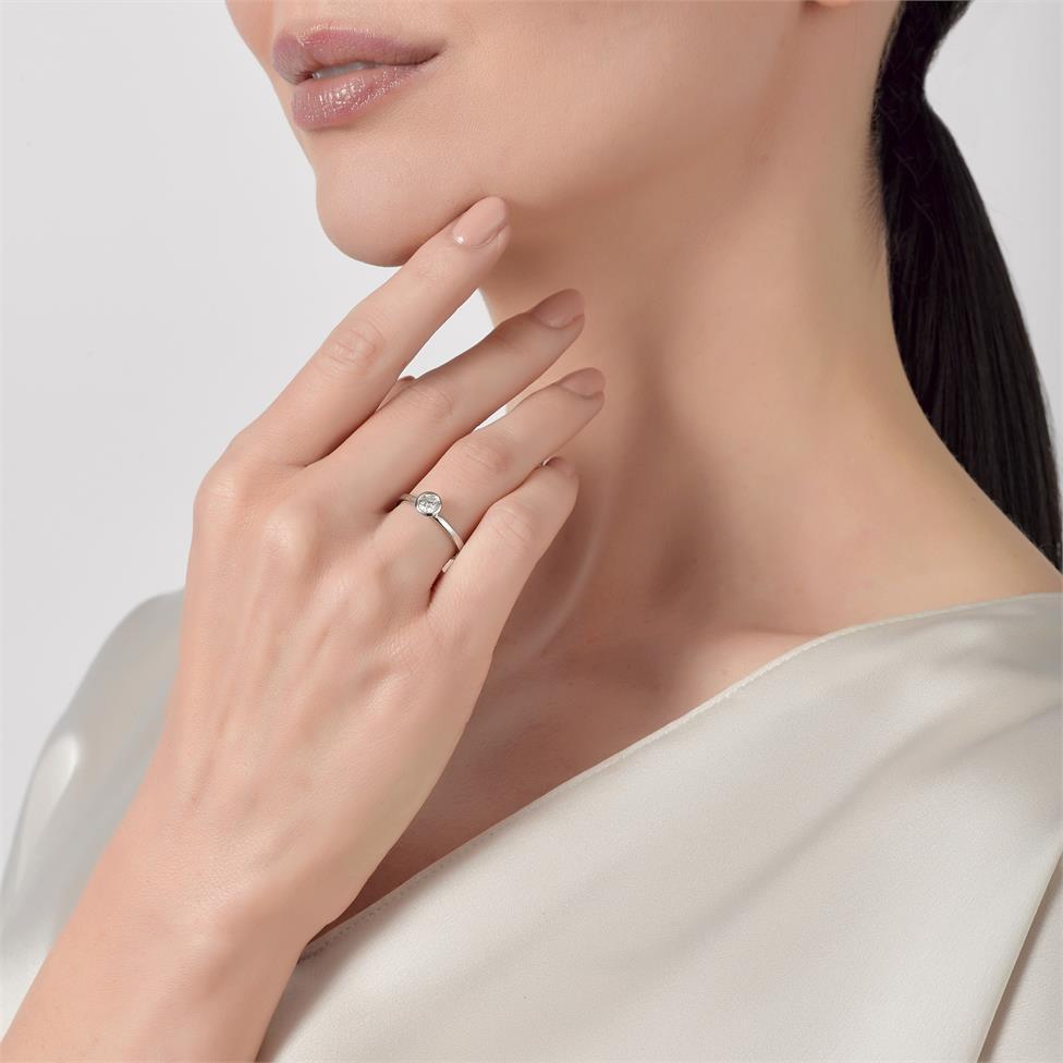 Platinum Rubover Detail Solitaire Diamond Engagement Ring 0.40ct Thumbnail Image 3