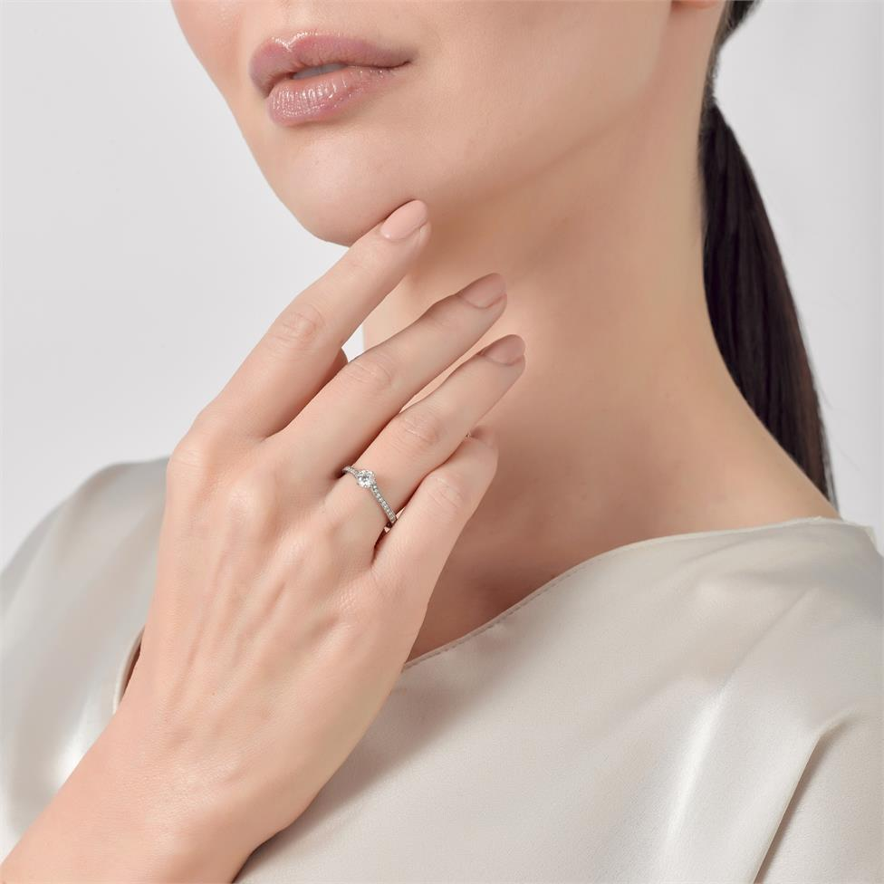 Platinum Twist Design Diamond Solitaire Engagement Ring 0.55ct Thumbnail Image 2