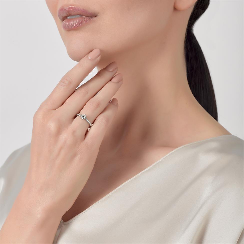 Platinum Twist Design Diamond Solitaire Engagement Ring 0.75ct Thumbnail Image 2