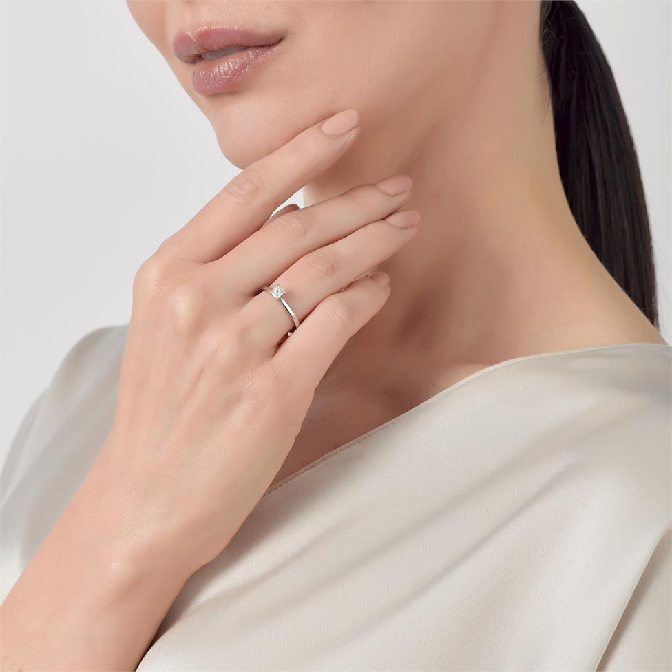 Platinum Princess Cut Diamond Solitaire Engagement Ring 0.23ct Thumbnail Image 2