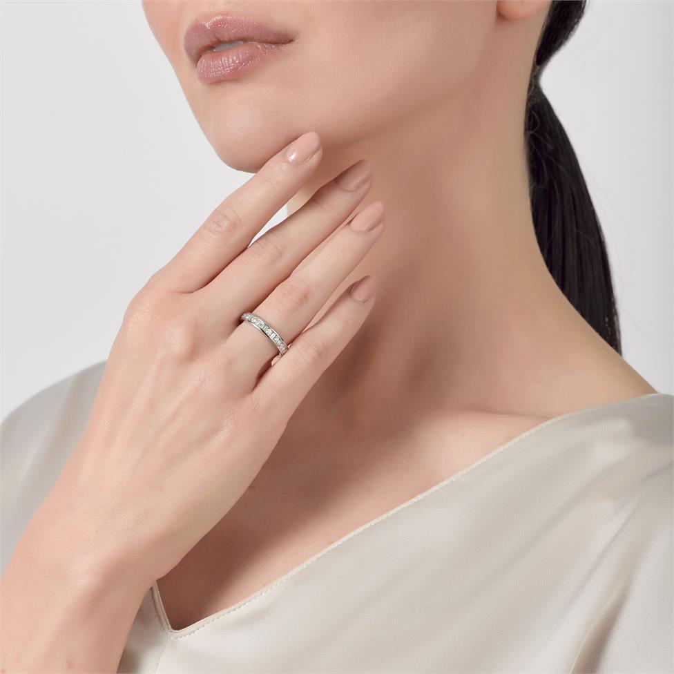 Platinum Alternating Baguette Cut Diamond Half Eternity Ring 0.50ct Thumbnail Image 1