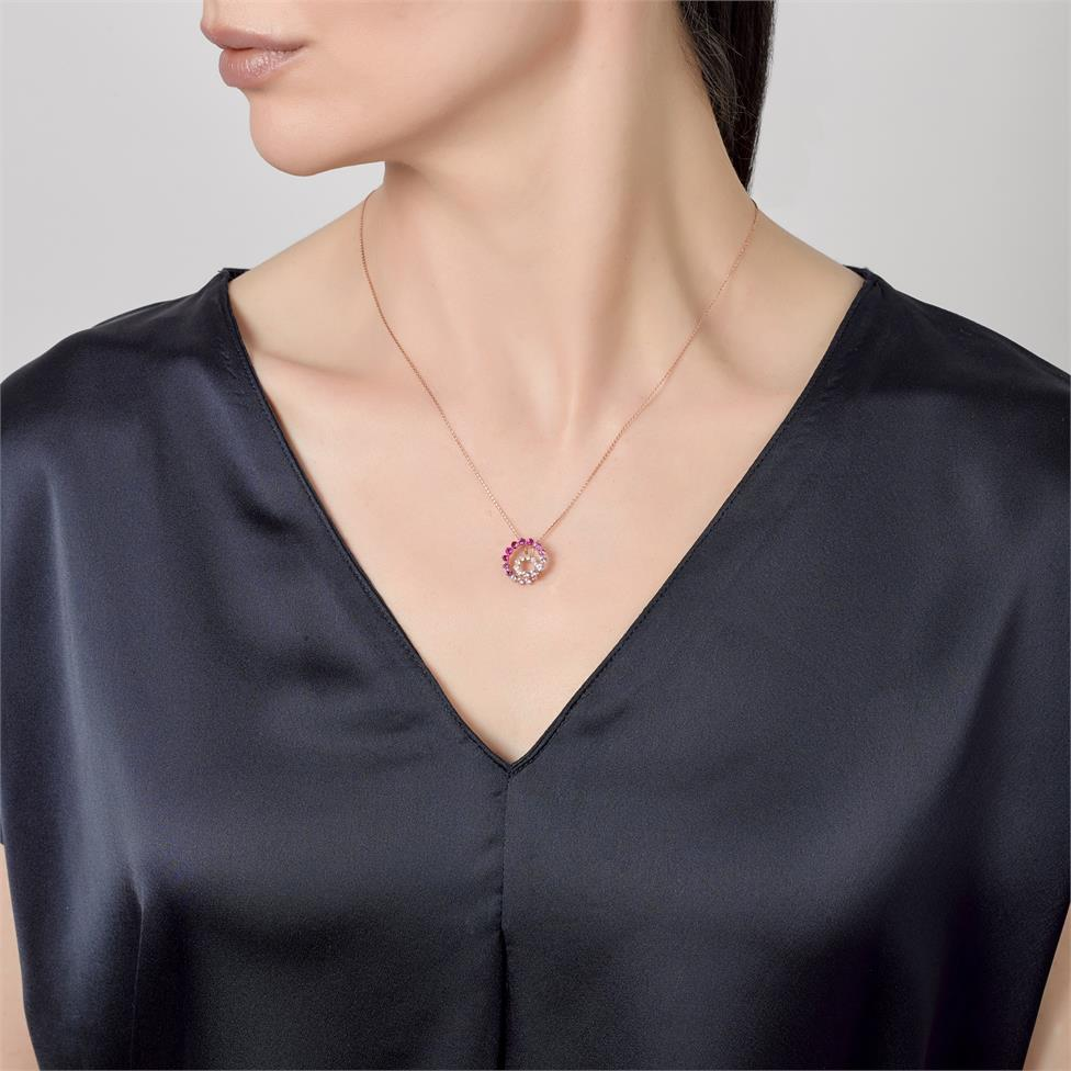 Enigma 18ct Rose Gold Ruby, Sapphire and Diamond Pendant Thumbnail Image 1