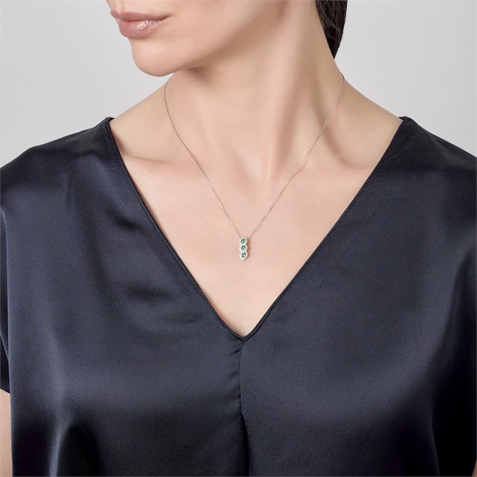 Oriana 18ct White Gold Emerald and Diamond Pendant Thumbnail Image 1
