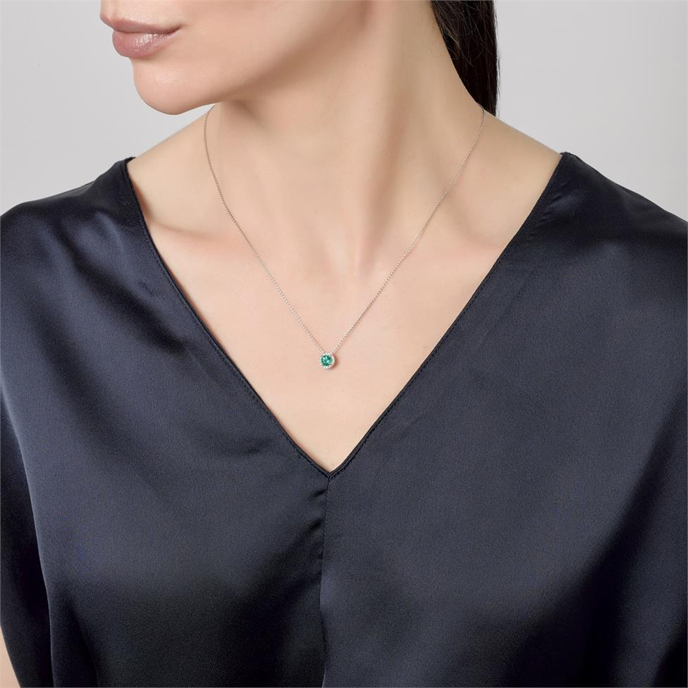 Camellia 18ct White Gold Emerald and Diamond Halo Necklace Thumbnail Image 1