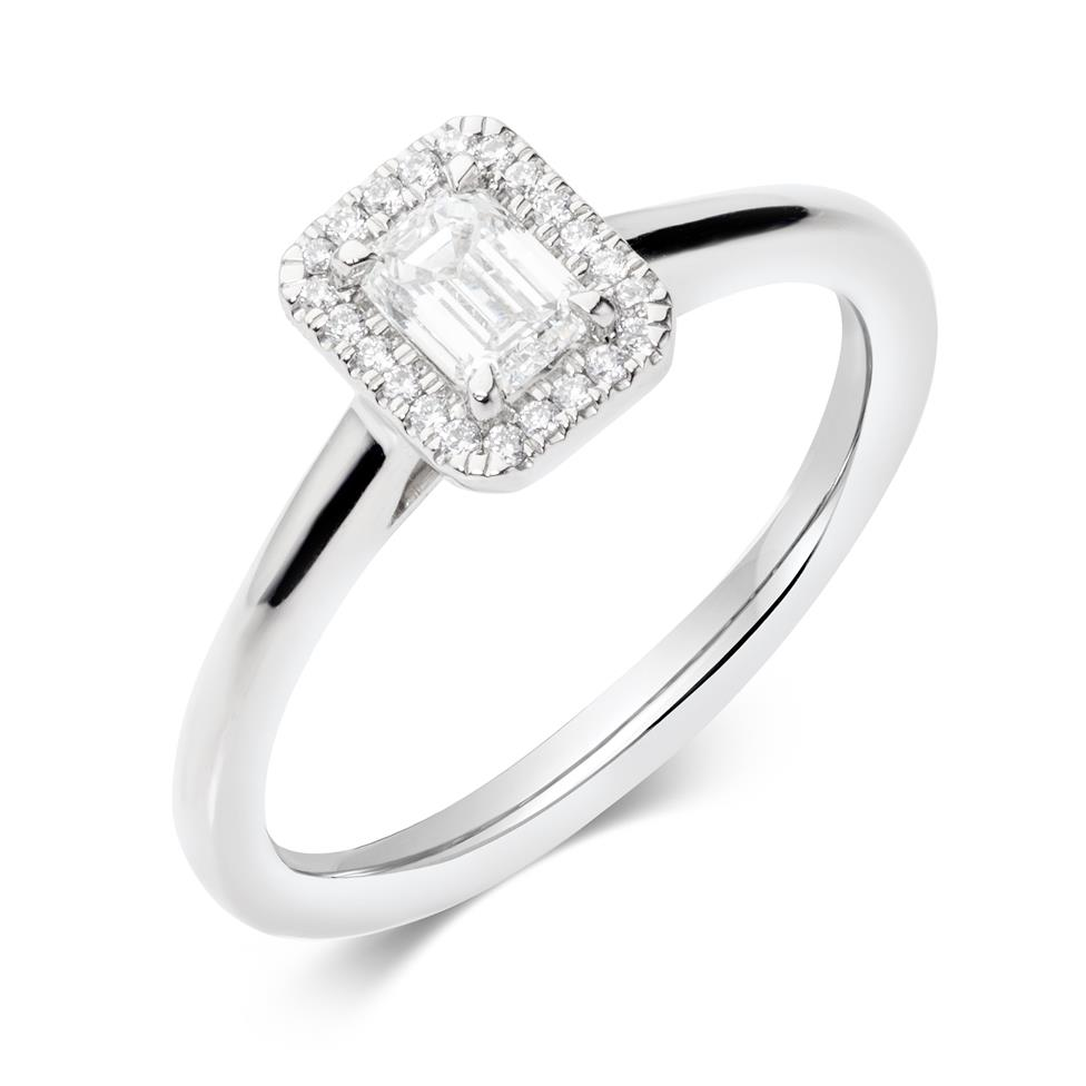 Platinum Emerald Cut Diamond Halo Engagement Ring 0.40ct Thumbnail Image 0