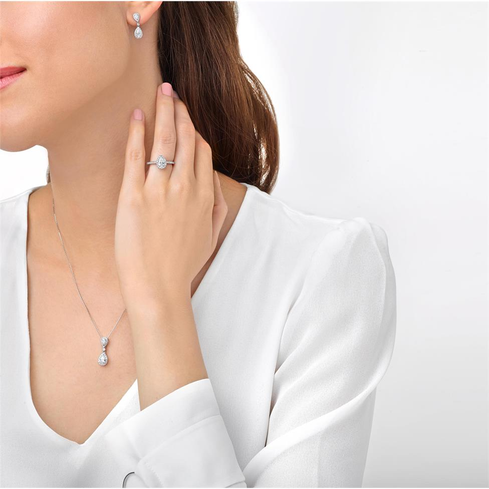 Platinum Pear Shape Diamond Halo Engagement Ring 1.05ct Thumbnail Image 1
