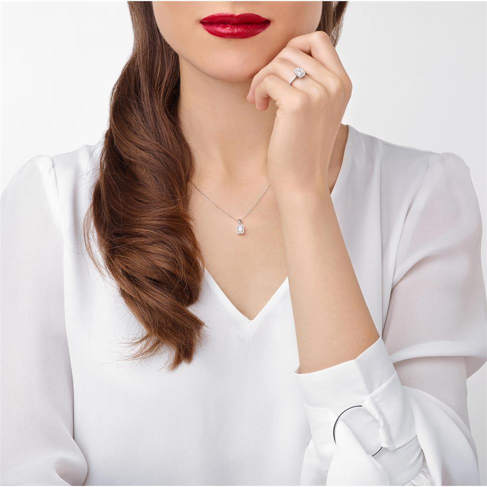 Platinum Emerald Cut Diamond Halo Engagement Ring 0.80ct Thumbnail Image 1