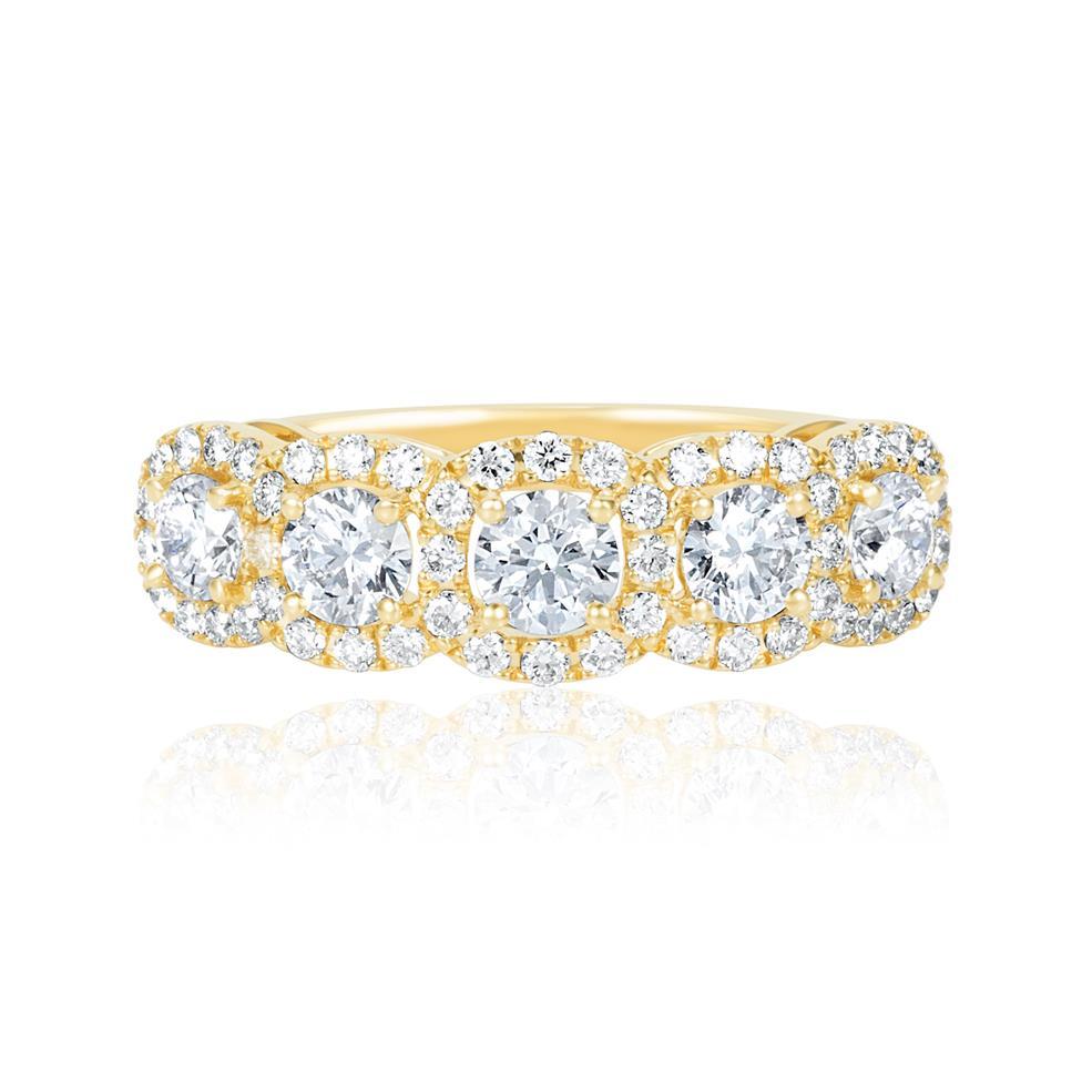 18ct Yellow Gold Five Stone Halo Detail Diamond Dress Ring 1.20ct Thumbnail Image 2