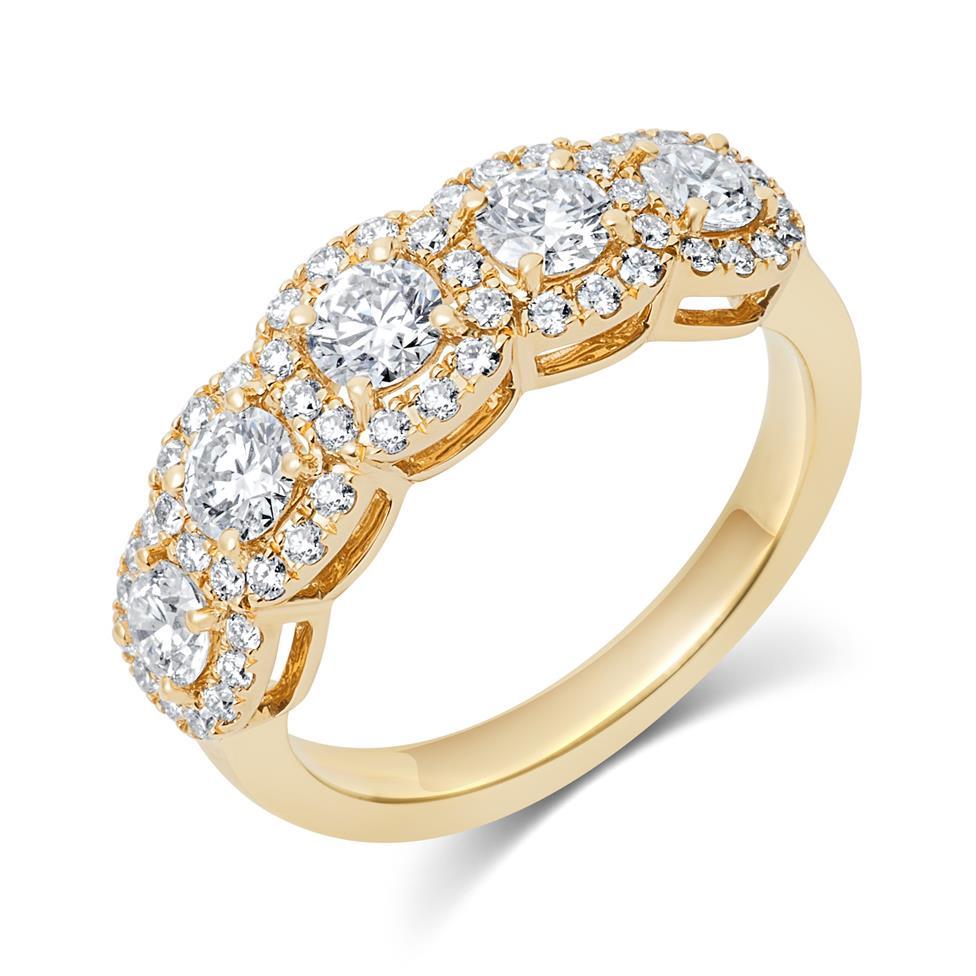 18ct Yellow Gold Five Stone Halo Detail Diamond Dress Ring 1.20ct Thumbnail Image 0