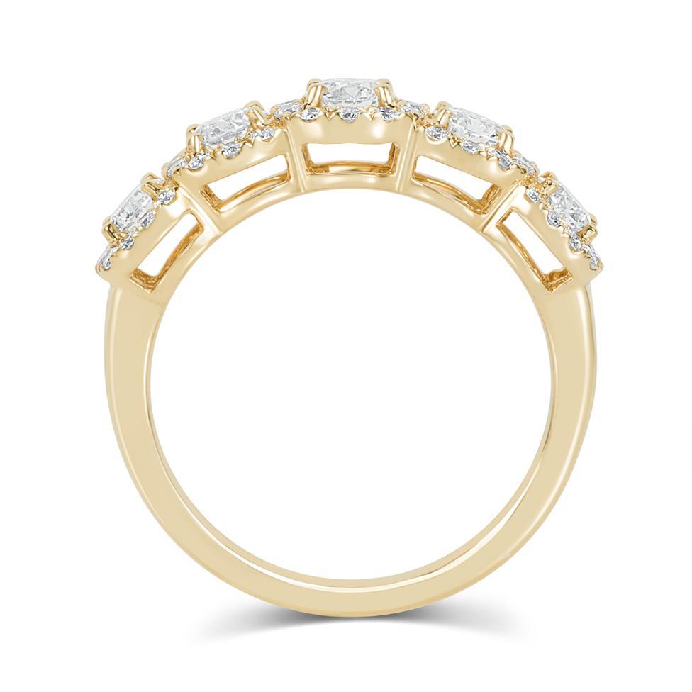 18ct Yellow Gold Five Stone Halo Detail Diamond Dress Ring 1.20ct Thumbnail Image 3