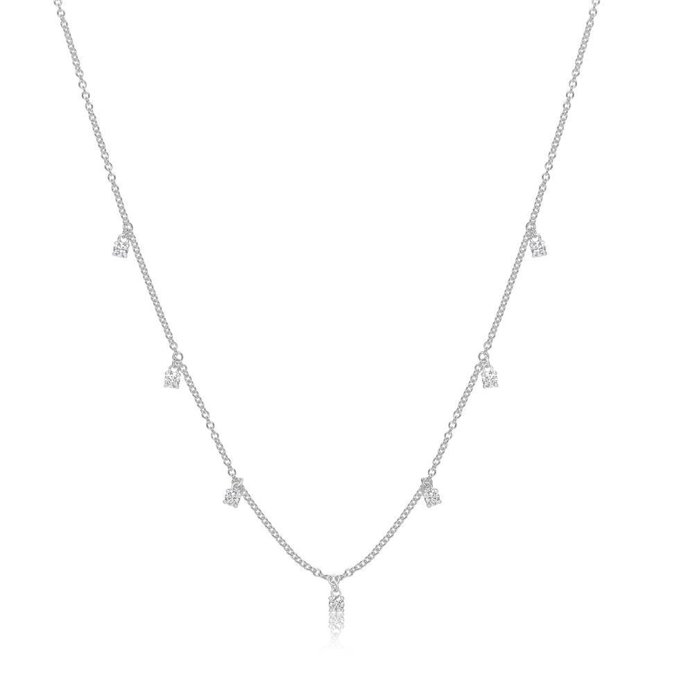 18ct White Gold Diamond Station Necklace 0.30ct Thumbnail Image 0