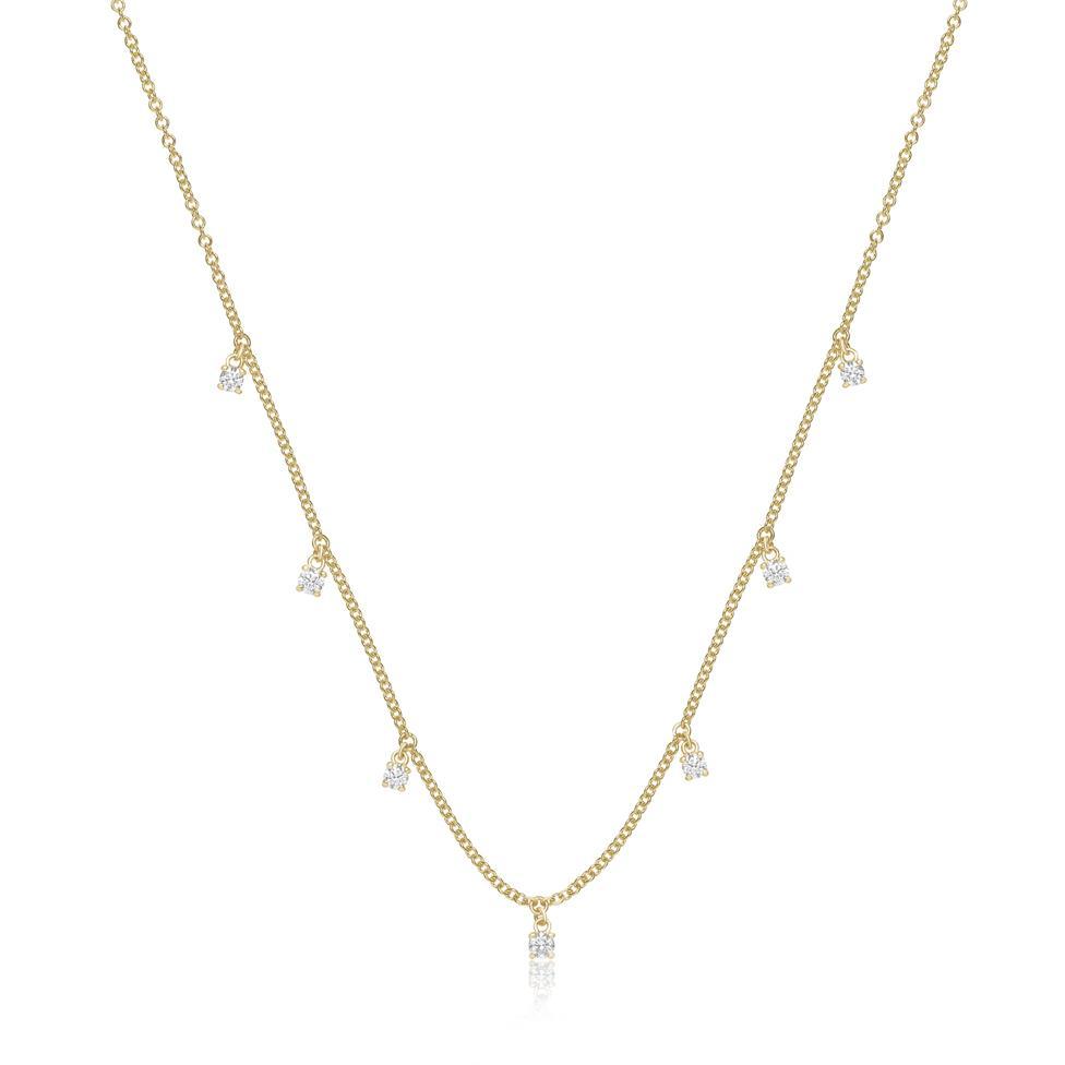 18ct Yellow Gold Diamond Station Necklace Thumbnail Image 0