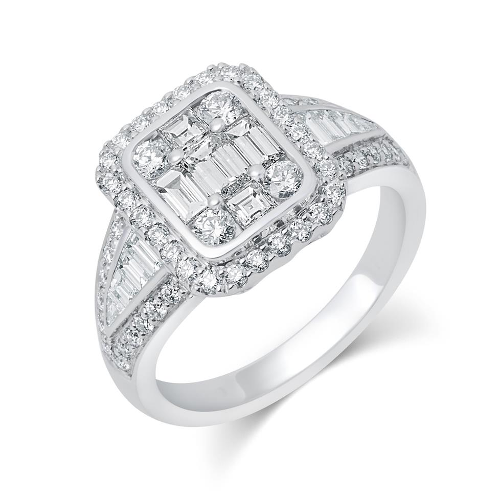 Odyssey 18ct White Gold Illusion Detail Diamond Cluster Dress Ring 1.60ct Thumbnail Image 0