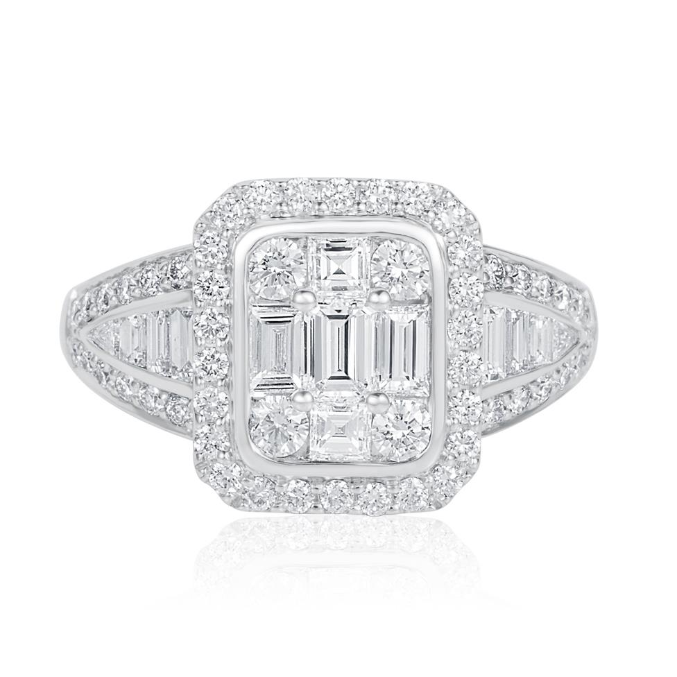 Odyssey 18ct White Gold Illusion Detail Diamond Cluster Dress Ring 1.60ct Thumbnail Image 1