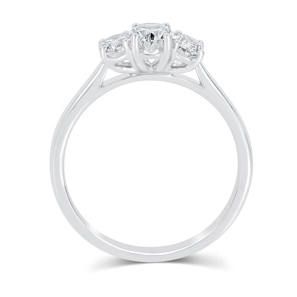 Platinum Oval Diamond Three Stone Engagement Ring 0.90ct Thumbnail Image 2