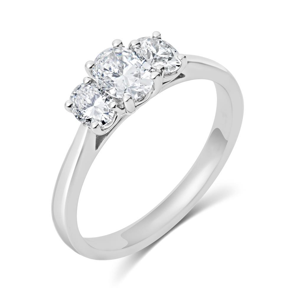 Platinum Oval Diamond Three Stone Engagement Ring 0.90ct Thumbnail Image 0